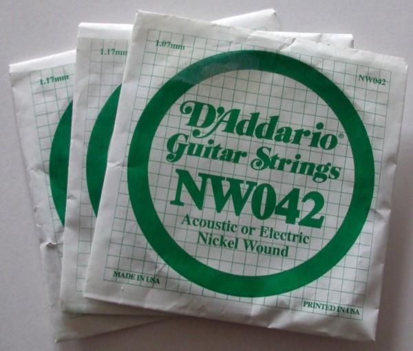 Daddario Acoustic or Electric Gitarren Einzelsaite NW042