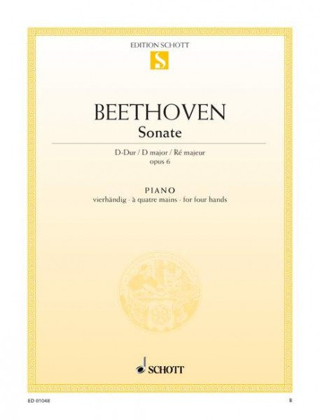 Beethoven Sonate D-Dur op. 6 Klavier zu 4 Händen