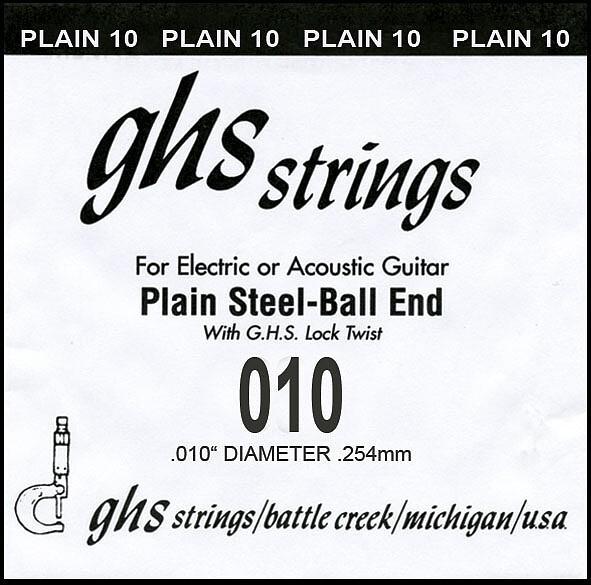 GHS Einzelsaite Plain 010 Boomer für Electric / Acoustic Gitarre