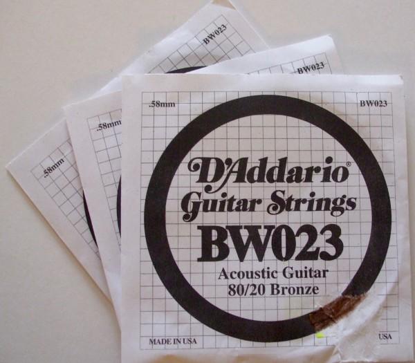 Daddario Acoustic Gitarren Einzelsaite BW023