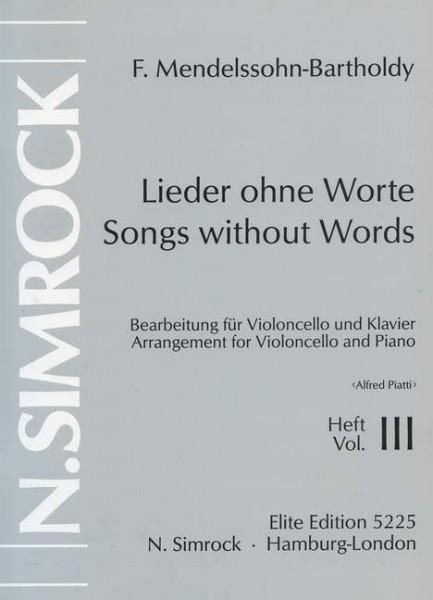 Lieder ohne Worte op. 62/67 Band 3 Felix Mendelssohn Bartholdy Cello und klavier