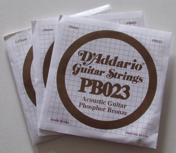 Daddario Acoustic Gitarren Einzelsaite PB023