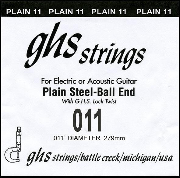 GHS Einzelsaite Plain 011 Boomer für Electric / Acoustic Gitarre