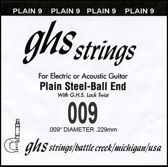 GHS Einzelsaite Plain 009 Boomer für Electric / Acoustic Gitarre